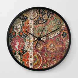 Persian Medallion Rug II // 16th Century Distressed Red Green Blue Flowery Colorful Ornate Pattern Wall Clock