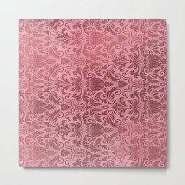 Lovely Pink vintage floral ornament illustration  Metal Print