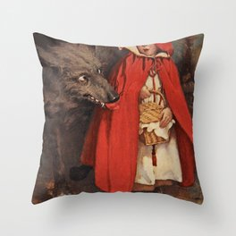 Little Red Riding Hood and the Big Bad Wolf portrait painting by Jesse Wilcox Smith Throw Pillow