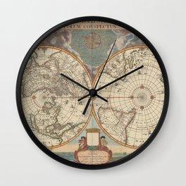 1672 World Polar Projection Map  Wall Clock