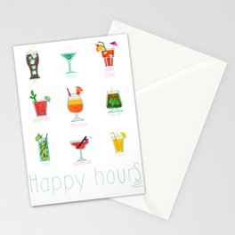 Happy hour..s cocktails illustration Stationery Cards