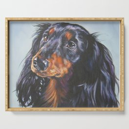 long haired Dachshund art portrait from an original painting by L.A.Shepard Serving Tray