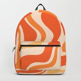Tangerine Liquid Swirl Retro Abstract Pattern Backpack
