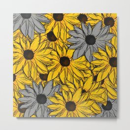 Yellow and Gray Sunflowers Pattern Metal Print