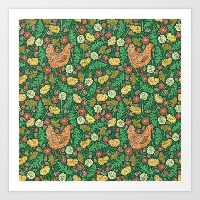 Orange hen with yellow chickens and dandelions on green background Kunstdrucke
