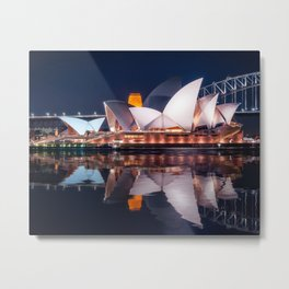 The White Shell Roofs of Sydney Opera House at Night with reflections in the water Metal Print