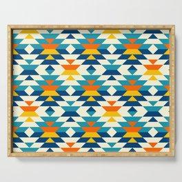 Bohemian large aztec diamonds blue pattern Serving Tray