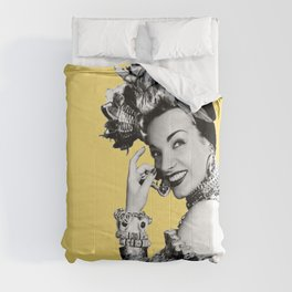 Carmen Miranda Portrait, Black and White Artwork for Wall Art, Prints, Posters, Tshirts, Bags, Men, Comforters