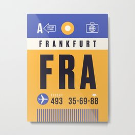 Baggage Tag A - FRA Frankfurt Germany Metal Print