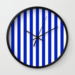 Cobalt Blue and White Vertical Beach Hut Stripe Wall Clock