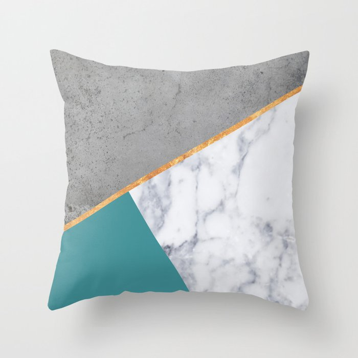 MARBLE TEAL GOLD GRAY GEOMETRIC Throw Pillow by marilenaxiari