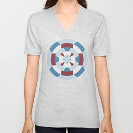 Simple geometric boat helm in blue and red Unisex V-Neck
