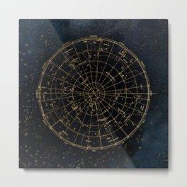 Golden Star Map Metal Print