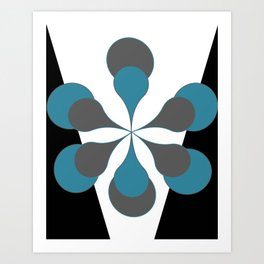 Mid-Century Modern Art 1.4B Grey Aqua Flower Art Print