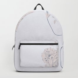 Head Of Flowers Art Print, Flower Head Art Print, Line Art Woman With Flowers, Minimal Line Drawing Backpack