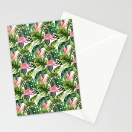 Summer tropical leaf watercolor pink flamingo greenery  Stationery Cards