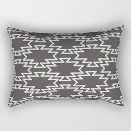 Southwest Azteca - Minimalist Geometric Pattern in Charcoal Gray Monochrome Rectangular Pillow