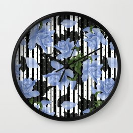 Blue roses white black striped background Wall Clock
