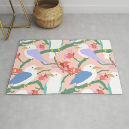 Kookaburra Birds + Little Kurrajong Flowers Rug
