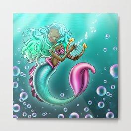 African American Mermaid and Harp Metal Print