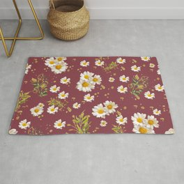 Pretty Whites Gerber Daisies Flower Pattern Red Background Rug
