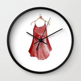 Red silk slip dress Wall Clock