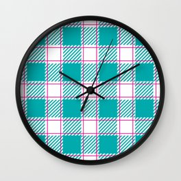 Twisted Robin Blue and Magenta Plaid Wall Clock