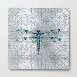 Gemstone Dragonfly on sacred geometry pattern Metal Print