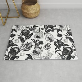 Black and White Floral Ornamental design Rug