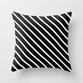 Black & White Diagonal Stripes Throw Pillow