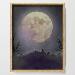 Spooky Night Halloween Backdrop Serving Tray