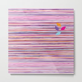 multicolored stripes pattern with leaves Metal Print