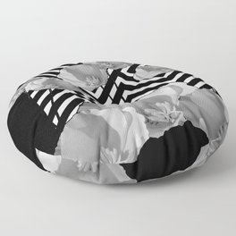 CONTEMPORARY BLACK & WHITE PATTERN FLORAL Floor Pillow