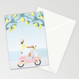 Scooter ride in the sun past lemons and lemon trees 2 Stationery Cards