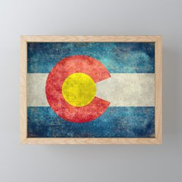 Colorado State Flag in Vintage Grunge Framed Mini Art Print