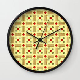 Symmetric patterns 155 yellow and red Wall Clock