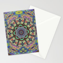 Iridescent Soul Flow Floral Boho Psychedelic Mandala Print Stationery Cards