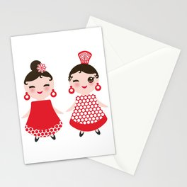 Spanish Woman flamenco dancer. Kawaii cute face with pink cheeks and winking eyes. Gipsy girl Stationery Cards