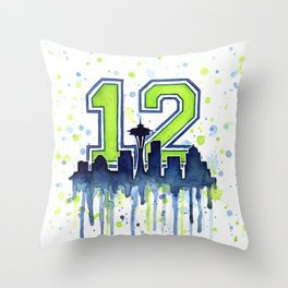 Seattle 12th Man Art Skyline Watercolor Throw Pillow