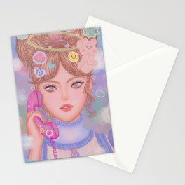 Micaela And Her Phone Stationery Cards