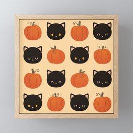 Pumpkin Cat Pattern Framed Mini Art Print