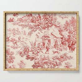 Red French Toile Serving Tray