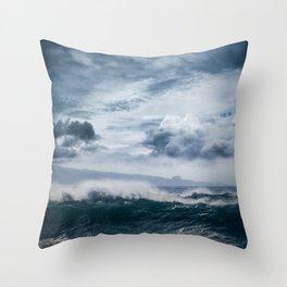 He inoa wehi no Hookipa  Pacific Ocean Stormy Sea Throw Pillow