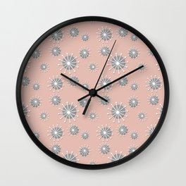 3D Retro Sunbursts in Pink, Gray and White Wall Clock