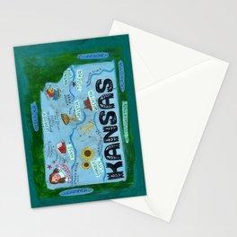 KANSAS map Stationery Cards