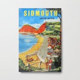 Sidmouth South Devon Vintage Travel Poster Metal Print