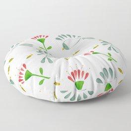 Bees, Tropical Flowers, Birds Floor Pillow