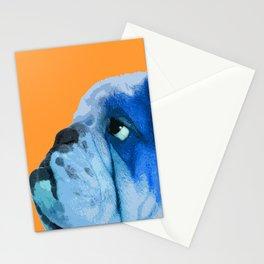 English bulldog portrait. Yellow pop art. Stationery Cards