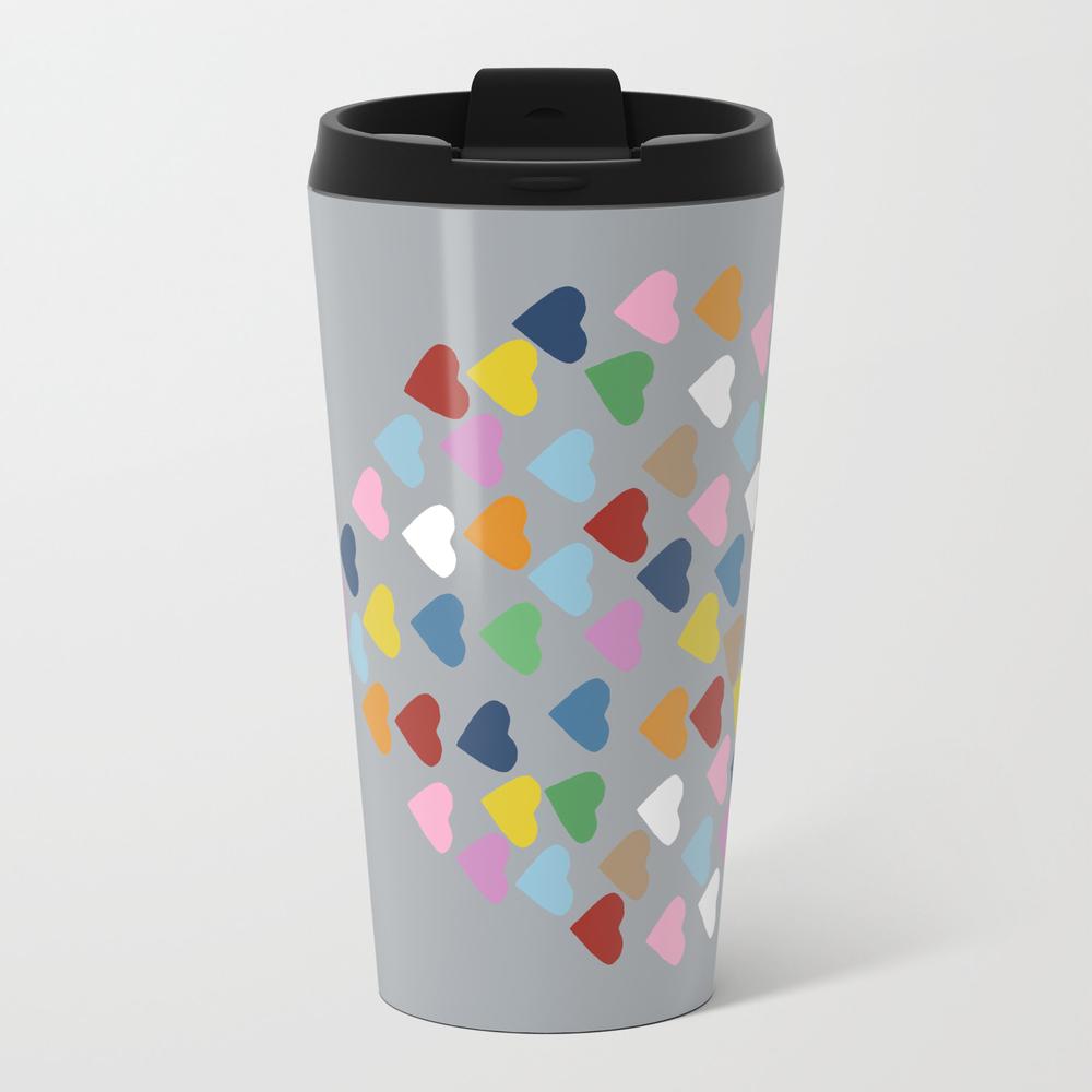 Hearts Heart Multi Grey Travel Mug TRM948986