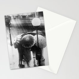 Friends in the Rain with Umbrellas black and white photography Stationery Cards
